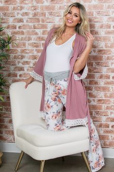 A solid, maternity robe with 3/4 sleeves, a crochet trim, and an open front with tie closure. The PinkBlush Mauve Crochet Trim Delivery/Nursing Maternity Robe is perfectly bump-friendly! Stylish Maternity, Maternity Fashion, Maternity Outfits, Nursing Robe, Maternity Sleepwear, Delivery Gown, Pink Blush Maternity, Mom Outfits, Crochet Trim