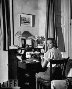 Daphne du Maurier at her desk in Cornwall