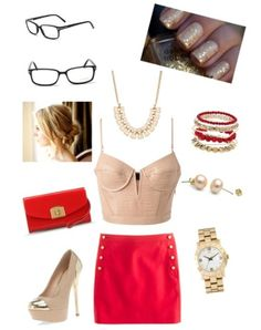 A night out, red high waist skirt with cream crop top and glasses ❤ created on polyvore