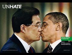 Unhate: USA president Barack Obama and Chinese leader Hu Jintao Benetton ad campaign. Barack Obama, Photomontage, Grand Prix, Amor Universal, Nicolas Sarkozy, Spiegel Online, Photo Images, Socialism, Cool Stuff