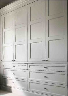 When space for a larger closet is not available, consider creating a wall of built-in storage. Edwardian wardrobe doors for built in wardrobe/dressing room. Closet Bedroom, Master Closet, Closet Space, Bedroom Storage, Home Bedroom, Bedrooms, Bedroom Wardrobes Built In, Master Bedroom, Closet Storage