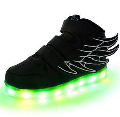 Großhandel Neue Süße Kinderschuhe LED Licht Schuhe Kinder Sneaker Schuhe Licht Flügel USB Bunt Leuchtend Lässig Jungen Und Mädchen Leuchtende