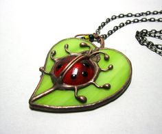Stained glass pendant.Jewelry necklace.Handmade by MyVitraz