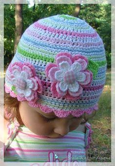 Crochet Flower Hats http://koalakidsfashion.blogspot.co.uk/2011/05/girly-stripes-cap-pattern.html
