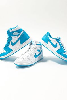 """Dedicated to Michael Jordan's alma mater, the North Carolina Tarheels, the popular """"UNC"""" color story debuted on the Air Jordan 1 High in 1985 before appearing on the vintage basketball shoe's mid and low-top styles."""