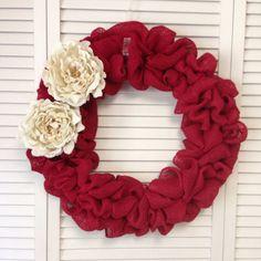Red Burlap Wreath with Cream Burlap Flowers, Wreath for All Year, Christmas Wreath, Burlap Wreath, Cream Burlap Peony, Burlap Decor, Wreath