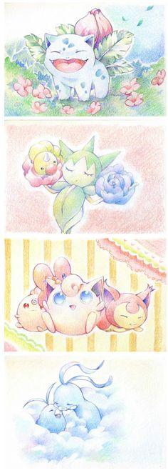 Pastel Watercolour Pokemon Why so cute?
