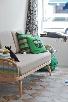 """Woven ercol studio couch by Donna Wilson as part of """"Design September"""", on show at la Fabrika in Brussels. Ercol Chair, Ercol Furniture, Couch, Sofa Pillows, My Living Room, Home And Living, Fabric Decor, Decoration, House Colors"""