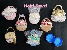 DIY,Making Flower Basket With Plastic Bottles Cap,Wedding Favors,Baby Shower, Kapaklardan Sepet - YouTube