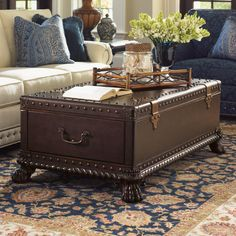 Have to have it. Lexington Home Brands Harwick Leather Trunk Cocktail Table - $3199 @hayneedle