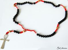 Red and Black Rosay Handmade jewelry by SzidoniaCollection on Etsy, $23.00