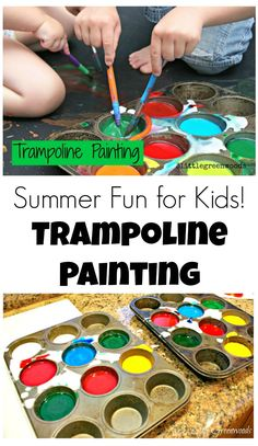 Diy Crafts : Illustration Description Summer Activities for Kids: Trampoline Painting is a super fun activity with homemade paint that is perfect summer fun! by 3 Little Greenwoods Crafting is just…Fun! Summer Fun For Kids, Summer Activities For Kids, Toddler Activities, Fun Activities, Art For Kids, Painting Activities, Toddler Fun, Toddler Crafts, Crafts For Kids