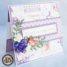 Love the purples on this Sweet Sentiments Easter card from Arlene #graphic45 #cards