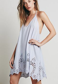 Free People Easy Livin slip Semi sheer lightweight cotton slip with a low straps back. Beautiful cutout detailing along the scalloped hem. Low v neckline. Cheap Dresses, Cute Dresses, Casual Dresses, Cute Outfits, Women's Dresses, Paisley, Bohemian Mode, Modern Bohemian, Boho Chic