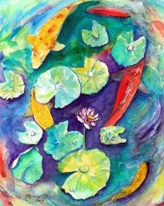 Koi with Water Lily