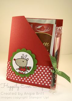 Perfect quick and easy stocking stuffers or small gifts for Christmas!!  Color Me Christmas Hot Chocolate; Created by Angie Britt, Stampin' Up! Demonstrator owner of Happily Ever Crafter