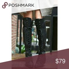 """COMING SOON FAV OVER-THE-KNEE BOOTS Material synthetic leather. Low stacked black heel. Classic vintage style boots. A must have for every wardrobe.  Heel Height 1.6 Shaft Length 21"""" Boutique Shoes Over the Knee Boots"""