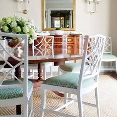 The Well Appointed House ( Dining Room Blue, Dining Room Chairs, Dining Rooms, Dining Tables, Fine Dining, Dining Area, Kitchen Dining, Chippendale Chairs, Dining Room Inspiration