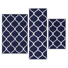 Kitchen Rugs Set, Maples Rugs [Made in USA][Rebecca] 3 Piece Sets Non Slip Padded Small Area Rugs for Living Room, Entryway, and Bedroom - Navy Blue/White.   For product info please visit:  https://homeandgarden.today/kitchen-rugs-set-maples-rugs-made-in-usarebecca-3-piece-sets-non-slip-padded-small-area-rugs-for-living-room-entryway-and-bedroom-navy-blue-white/