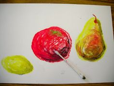 2nd Grade- still life with oil pastels and baby oil with liquid watercolor