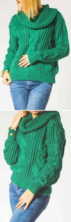 You can bet your girls will be green with envy over this chunky knit. The envy hooded sweater features twist pattern and turtle neck. Hot sale at  CUPSHE.COM !