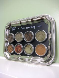 Frequently Used Spice Storage I like this.  Repurpose an old silver tray.