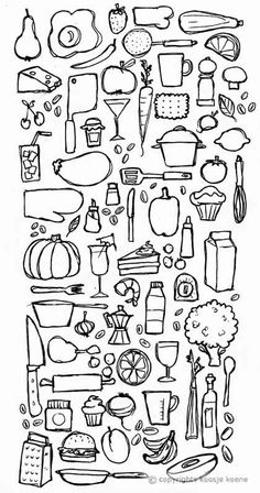 Do this on a wood plaque for the kitchen Elementary Spanish, Teaching Spanish, Food Illustrations, Illustration Art, Food Sketch, Food Drawing, Drawing Lessons, Art Plastique, Learn To Draw