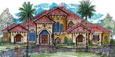 European Style House Plans - 6937 Square Foot Home, 2 Story, 5 Bedroom and 5 3 Bath, 3 Garage Stalls by Monster House Plans - Plan 28-146