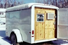 """The Stealthy Cargo Trailer """"with a big door on the back. When closed you had no idea it was anything more then just a trailer Enclosed Trailer Camper Conversion, Cargo Trailer Conversion, Enclosed Trailers, Converted Cargo Trailer, Cargo Trailers, Utility Trailer, Camper Trailers, Tiny Trailers, Travel Trailers"""