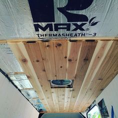 "DIY Camper Van Conversion | From Instagram @gmtwheelstails -""Working on the ceiling. Insulation✅ Vent fan✅ Cedar boards almost done. #sprinter #vanlife #vanconversion """