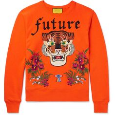 promo code dc3b8 7f79c Gucci Embroidered And Appliquéd Loopback Cotton-Jersey Sweatshirt