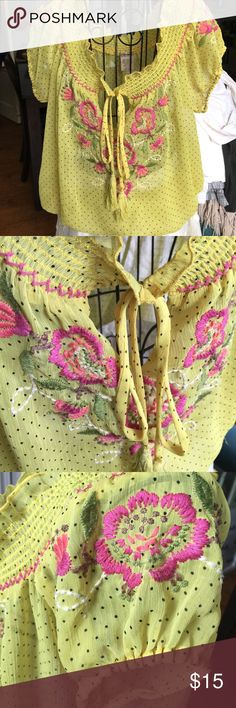 LuluMari Embroidered Peasant Top Beautiful yellow w/ black polka dots Embroidered peasant top. Size M. Stitching in perfect condition. ✨Make an offer! Lulumari Tops