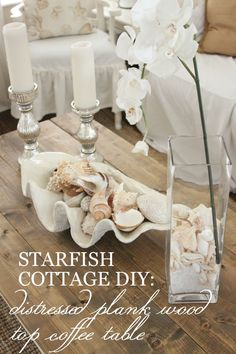 Stop by Starfish Cottage today for an awesome Distressed Plank Wood Top Coffee Table DIY! http://kristyseibert.com/blog/2015/07/coffee-table-diy.html