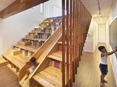 Spectacular stair dominates house, serves many functions