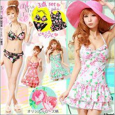 Sweet girl !! Pretty rose bikini sets