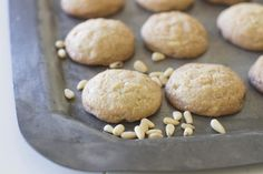 Chewy white chocolate pine nut cookies