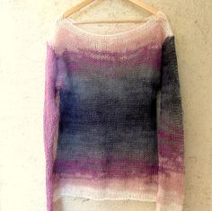 Hand Knitted Mohair Top Loose Fit Sweater Sheer Sweater Hipster Clothing Smokey Grey and Purple Long Sleeve Pullover Grunge Rock Punk