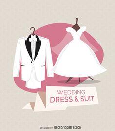 vestido de novia y traje de ilustración