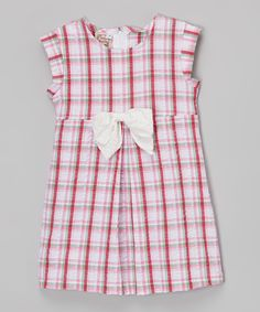 Look at this Anna Bouche Pink & Red Plaid Seersucker Dress - Toddler & Girls on #zulily today!
