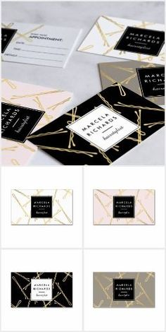 Instant salon or hair stylist branding! A fun and eye-catching pattern design of falling faux gold bobby pins create an intriguing background on this stylish set of brand materials for hairstylists, hair salons, beauty consultants and more. Art and design by 1201AM. Available to personalize on business cards, appointment cards, rack cards, stationery and more…