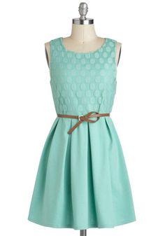 Refine Mint Dress - Solid, Belted, Casual, A-line, Sleeveless, Short, Pastel, Mint, Graduation, Cotton
