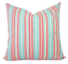 Striped Pillow Covers  Two Pillow Covers in by CastawayCoveDecor