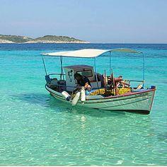 Fishing boat in Antipaxos, Greece