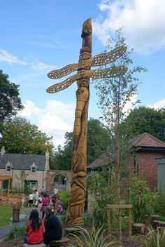Chainsaw carved Dragonfly totem pole at Barnes Park, Sunderland