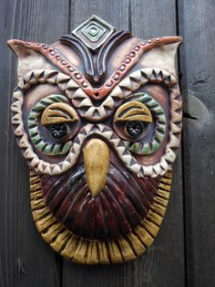 steampunk Owl ceramic wall mask or Garden art  $72  https://www.etsy.com/listing/103203723/steampunk-owl-ceramic-mask