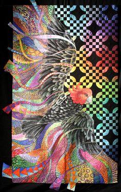 byannelize : European Patchwork Meeting Alsace 2014 Freedom by Helen Godden from Australia Quilting Projects, Quilting Designs, Quilt Design, Vogel Quilt, Bird Quilt, Quilt Modernen, Animal Quilts, Landscape Quilts, Applique Quilts