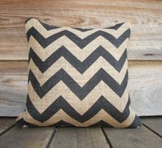 Decorative Throw Pillow Cover of Black Chevron, Burlap Pillow, 16x16. $35.00, via Etsy.