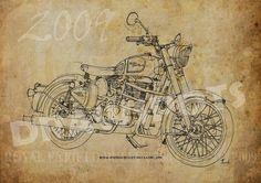 ROYAL ENFIELD Bullet 500 Classic 2009 8x11in to by drawspots  #artwork #giftforhim #man #bike