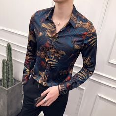 Online Shop Animal Print Fashion Show Vintage Shirt Men Camisa Masculina Slim Fit Club Party Prom Printed Mens Shirt Chemise Homme Chemise Fashion, Suit Fashion, Mens Fashion, Fashion Black, Animal Print Fashion, Fashion Prints, T Shirt Sport, Shirt Men, Moda Men
