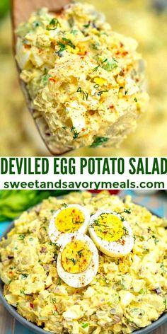 Egg Recipes, Side Dish Recipes, Potato Recipes, Healthy Dinner Recipes, Cooking Recipes, Easter Recipes, Side Salad Recipes, Recipies, Deviled Egg Potato Salad